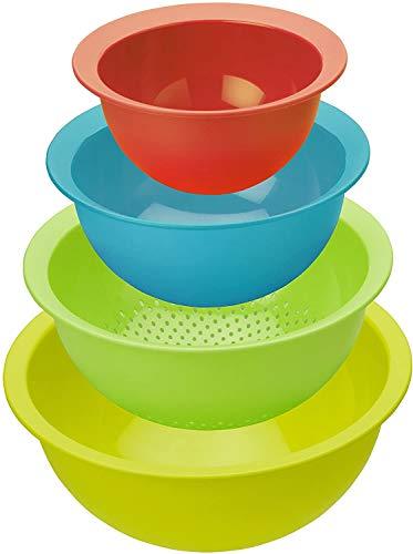 Rotho Caruba 4er-Set bestehend aus 3 Schüsseln und 1 Sieb, Kunststoff (PP) BPA-frei, mehrfarbig, 30,0 x 30,0 x 13,0 cm