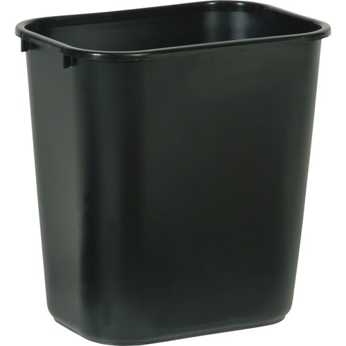 Rubbermaid Commercial Products FG295500BLA Plastic Resin Deskside Wastebasket, 3.5 Gallon/13 Quart, Black