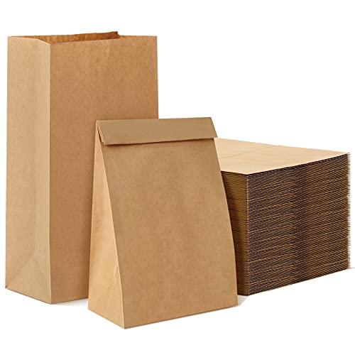 50 Bolsas de Papel Marrón, Bolsas de Papel Grandes Bolsas de Papel Kraft de, para Regalo, Bolsas de Papel para Alimentos para Dulces, bolsa para el pan, Regalos Bolsitas20x12.5x30.5cm
