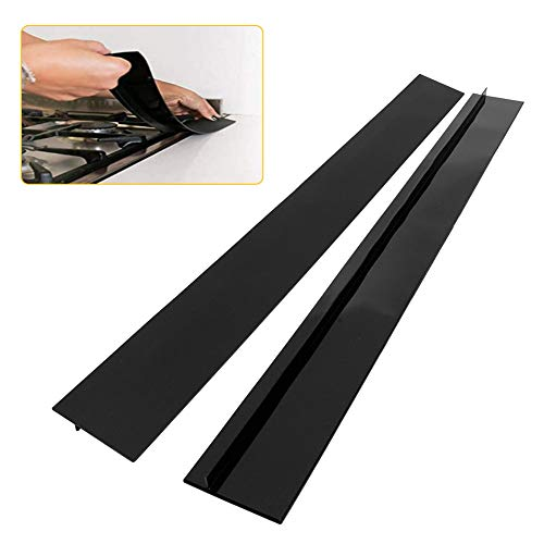Kitchen Silicone Stove Counter Gap Cover, 21/25 inch Long & Extra Wide Stove Gap Filler Range Strips 2pcs,Between Oven and Countertop Dishwasher, Easy Clean Heat Resistant Gap Guards (25inch, Black)