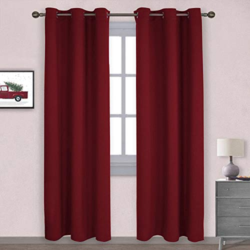 NICETOWN Home Decorations Thermal Insulated Solid Grommet Top Blackout Living Room Curtains/Drapes for Christmas & Thanksgiving Gift (1 Pair, 42 x 84 inches, Red)