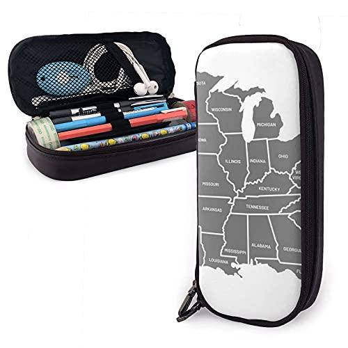 Amerian United States Map Estuche para lápices de cuero, gran capacidad, duradero, con cremallera, estuche para lápices, maquillaje, cosméticos, útiles escolares, papelería