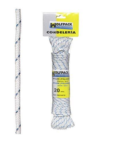 WolfPack 16010070 Cuerda Nylon Alta Tenacidad Blanca/Azul (Madeja 20 m.)