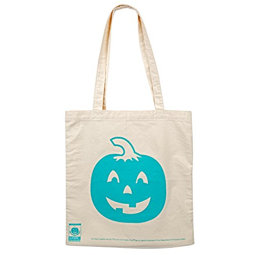 """Teal Pumpkin Halloween Large Reusable Canvas Bag - 14"""" Trick or Treat Candy Tote for Adults & Kids"""