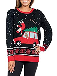 Tipsy Elves Women's Grandma Got Run Over Hilarious Ugly Christmas Sweater Ideas