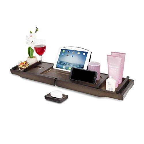 Bandeja para bañera de bambú extensible a 110 cm con soporte para libro ajustable, ranura para copas de vino y jabonera a juego