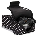 USA GEAR DSLR Camera Case and Zoom Lens Camera Sleeve (Polka Dot) with Neoprene Protection, Holster Belt Loop and Accessory Storage - Compatible with Canon, Nikon, Sony, Olympus, Pentax and More