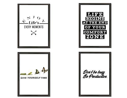 Hometastic 4 Premium Poster im Set | Bilder für Wohnzimmer und Schlafzimmer | Wandbild, Kunstdruck mit Spruch in schwarz weiß ohne Bilderrahmen | Dekoration | Modern | DIN A4 | (Set 4)