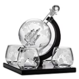 Whisky Decanter Globe Set, con 4 Vasos de Whisky Globe Grabados, Set de Regalo para Licor, Whisky, borbón, Vodka y Vino en la Oficina en el hogar - 800 ml