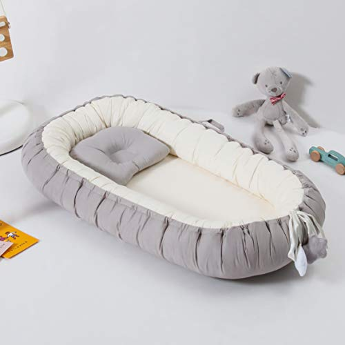 %24 OFF! Traddy Baby Lounger, Baby Nest Portable Super Soft 100% Cotton and Breathable Newborn Loung...