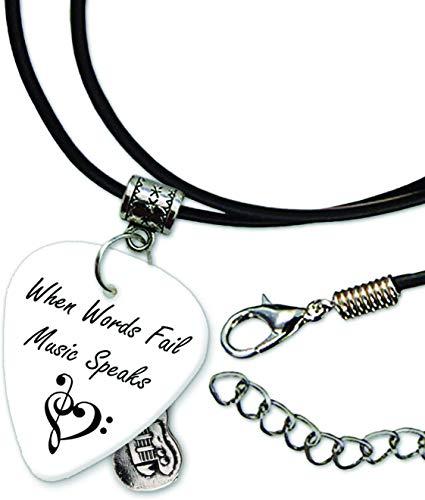 When Words Fail Anniversary Halskette Leder Schnur (GD) Chain Necklace Guitar Plektrum Plektron Gitarren-Pick Kette