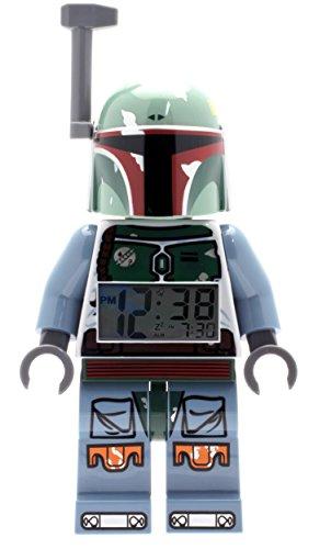 Lego Réveil figurine lumineux Boba Fett Star Wars 9003530 pour enfant |vert/bleu | plastique |hauteur de 24 cm | écran LCD | garçon/fille | produit officiel