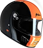 AIRBORN casco integral full ride, Negro/Bde naranja brillante, talla XS