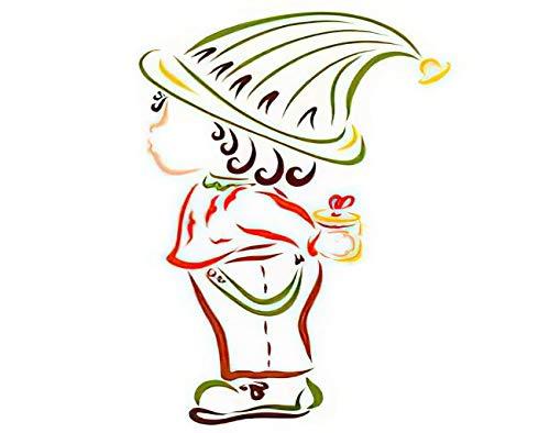 Y·JIANG Pintura de gnomo de Pascua por números, niño con un regalo sorpresa lindo bebé DIY lienzo acrílico pintura al óleo por números para adultos niños decoración de pared del hogar, 40,6 x 40,6 cm