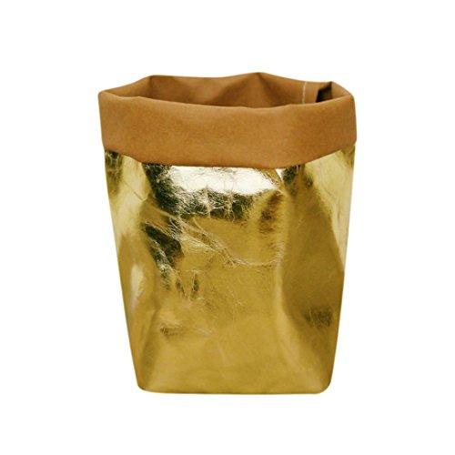 Squarex - Sac en papier lavable Kraft - Pot de fleurs et plantes - Sac de rangement multifonctions - Pour la maison - Réutilisable AS SHOW doré