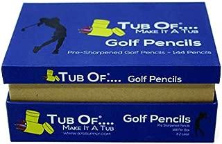 Golf Pencils, Tub Of Brand, Pre-Sharpened, Hexagonal Barrel, Yellow Finish, 144 Pencils (Blue Box)