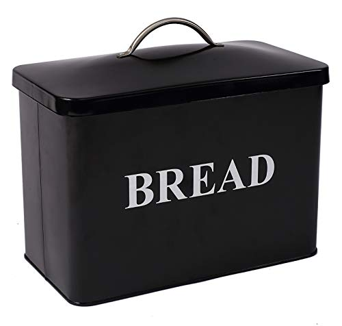 Extra Large Space Saving Vertical Bread Box - Holds 2 Loaves - Cream Extra Large Breadbox Bread Holder - 13'(L) x 7'(W) x 9' (H) - Black with BREAD Lettering
