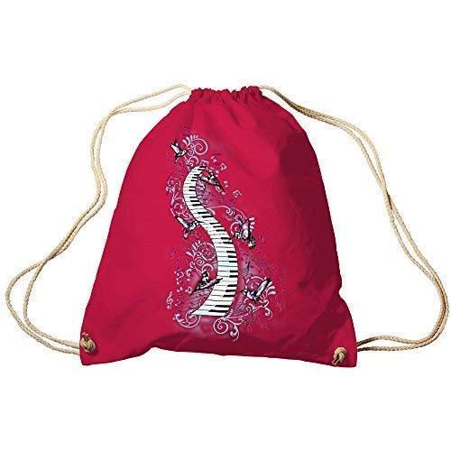 Fan-O-Menal Textilien Trend-Bag Turnbeutel Sporttasche Rucksack mit Print -Klavier und Vögel - TB09018 Farbe Fuchsia