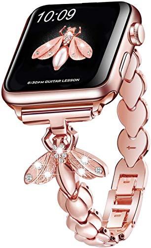 SaNgaiMEi Correa Compatible para Correa Apple™ Watch 38mm 40mm 42mm 44mm Metal Abeja iwatch Correa Compatible con Series 6/5/4/3/2/1/Apple Watch SE Rosa Oro
