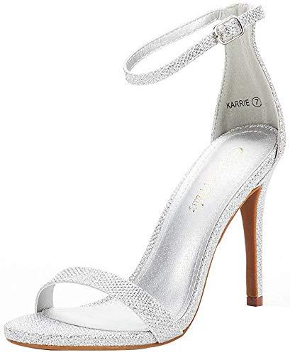 DREAM PAIRS Women's Karrie Silver Glitter High Stiletto Pump Heel Sandals Size 7 B(M) US