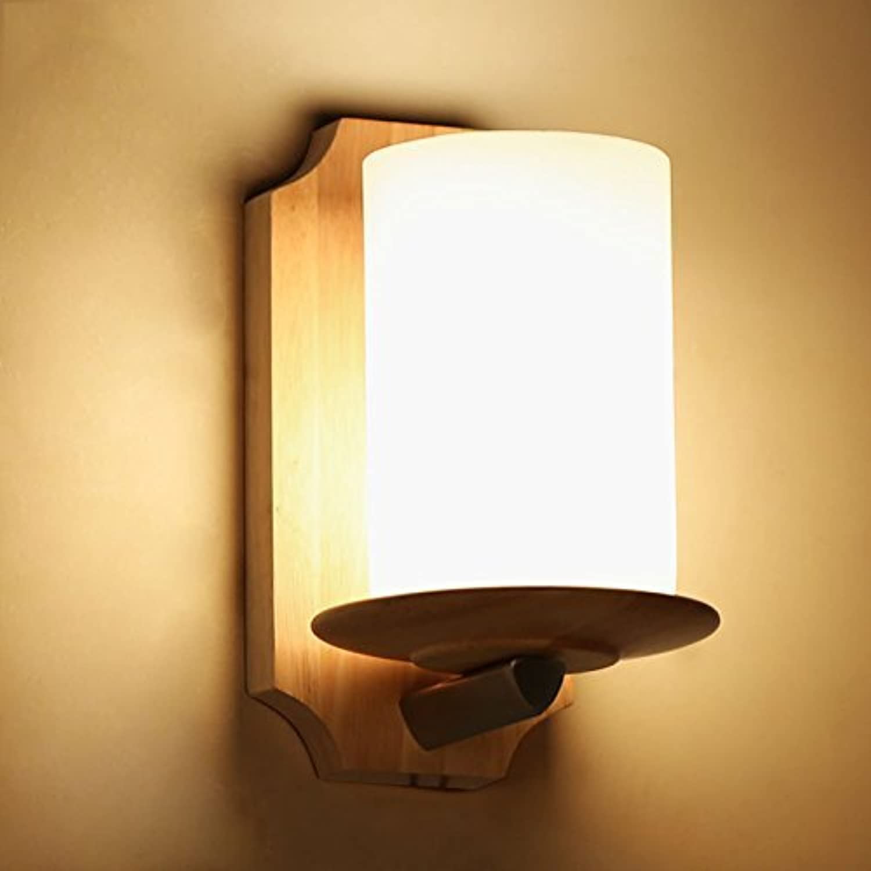 Led-Schlafzimmer Nachttischlampe Holz Flur Lampen Wohnzimmer Wand Lampe, Einem Kopf E 27  1 22  13Cm Retro Massivholz Licht Gang Balkon Leuchten Beleuchtung Badezimmer Spiegel Light Hotel Zimm