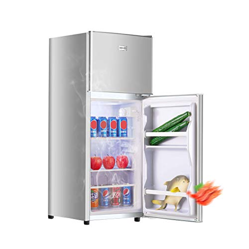 FRIDGE Nevera Retro 42L Nevera Eléctrica Termostato Regulable Combinación De Nevera Y Congelador Tabique Ajustable Frigorífico Doble Puerta Nevera Y Congelador Almohadilla para El Pie 74cm