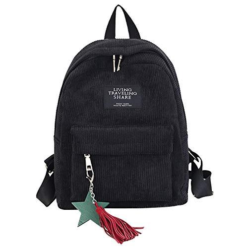 Fashion Damen Mädchen Casual Rucksack Solid Color Cord Rucksack Reise Schultertasche, Schwarz (schwarz), Einheitsgröße
