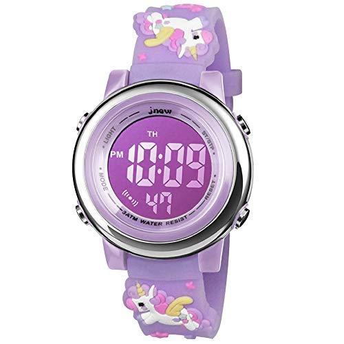 BIGMEDA Reloj Digital para Niños Niña, Luz Intermitente LED de 7 Colores Reloj de Pulsera Niña Multifunción, para Niños de 3 a 12 años (PúrpuraUnicornio)