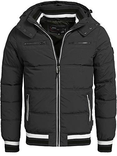 Indicode Herren Marlon Steppjacke in Daunenjacken-Optik mit Abnehmbarer Kapuze | warme Winterjacke gefütterte Übergangsjacke Regenjacke mit 6 Taschen Jacke für Männer Schwarz XL