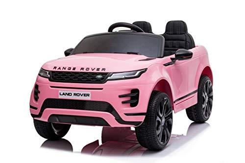 Mondial Toys Auto Macchina ELETTRICA per Bambini 12V Range Rover EVOQUE con Sedile in Pelle Cintura di Sicurezza A 5 Punti Telecomando Pink