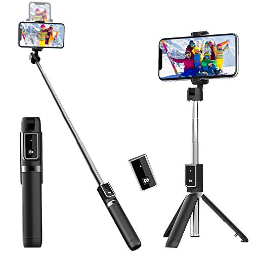 Selfie Stick Tripod, Extendable Selfie Stick with Detachable Wireless Remote and Tripod Stand Selfie Stick for iPhone 11/11 pro/X/8/7/6s/6,Samsung Galaxy S10/S9/S8/S7/Note 9/8,Huawei and More (Black)