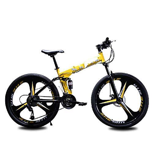 Kinder Mountainbike Aluminium 20 Zoll 6-9 Jahre Alt | Kinder Jugendrad 26 Zoll Doppelstoßdämpfer Mit Variabler Geschwindigkeit DREI-Messer-Rad 24 Zoll 21 Speed Top mit/Gelb