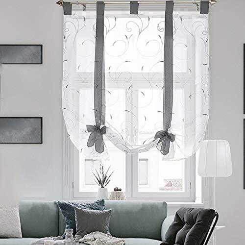 i@HOME Raffrollo ohne Bohren Voile Transparent mit Stickerei Raffgardinen mit Schlaufen Fenstervorhang Scheibengardinen Rollos für Fenster (Grau,120*140cm)