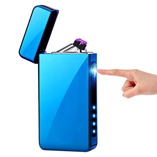 KIMILAR Lichtbogen Feuerzeug, Elektro Feuerzeug USB, Dual Aufladbar Berührungssensor Winddicht Flammenloser Elektronisches Feuerzeug für Kerzen Küche Grill (EIS Blau)