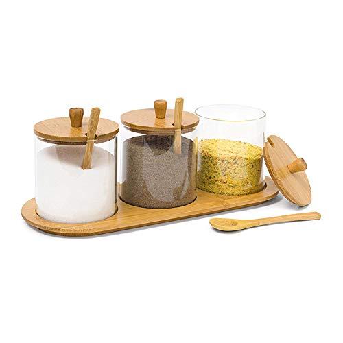 ZJING Keuken kruiden glazen pot kruiden fles vers glas fles kruidenrek lepel met kruidenrek keuken opslag stofdicht en vochtbestendig geschikt voor het opslaan van kruiden suiker peper