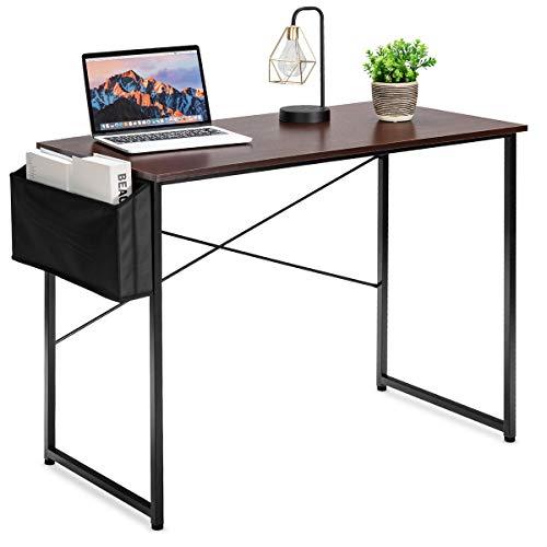 COSTWAY Computertisch Schreibtisch mit Aufbewahrungsbeutel, Bürotisch PC Tisch Industrie- Stil, ArbeitstischOfficetisch 102x51x76cm