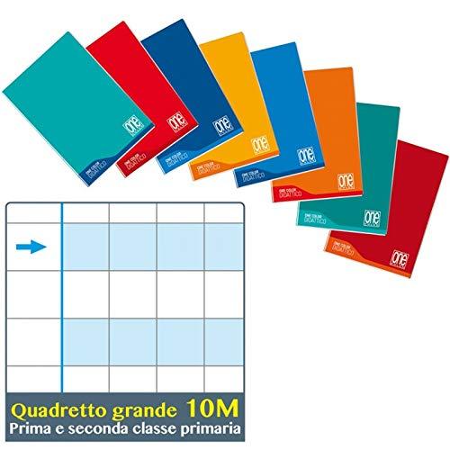 5 maxi quaderni one color didattico per disgrafia A4 Quadretti 10 mm 1 cm per scuole 1-2 elementare