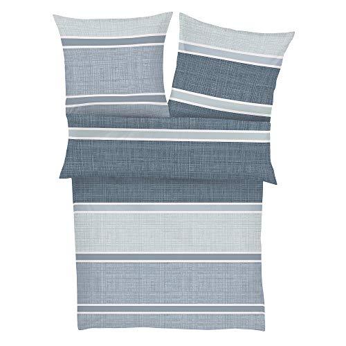 s.Oliver 6267 Bettwäsche 140x200 cm - Biberbettwäsche blau, 100% Baumwolle, 2 teilig mit Reißverschluss