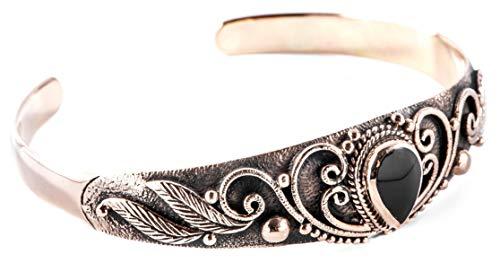 Windalf Mittelalter Bohemia Armreif ELANIA Ø 5.7 cm Vintage Schwarzer Onyx Elfenschmuck Armschmuck Hochwertige Bronze