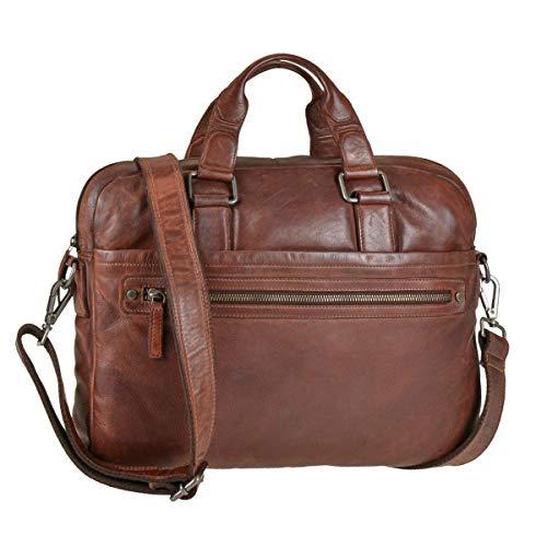 Greenburry Leder OfficeBag Aktentasche für A4 Format Notebooktasche Cognac braun Vintage Washed