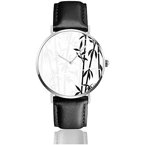 Bambus Japanische Asiatische Pflanze Neue Herren Retro Schwarz PU Lederband Armbanduhren