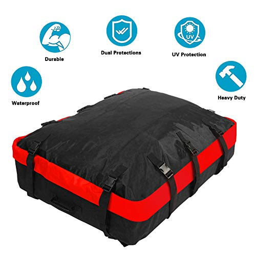 MHO+ALL Rooftop Cargo Carrier Bags Roof, 8 cu ft Waterproof Luggage Car Top Carrier Heavy Duty Roof Bag with 10 Reinforced Straps, Rainproof Zipper, Fits All Cars & Automobiles with or NO Roof Rack