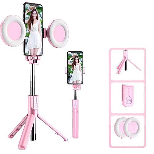 Luz de Anillo LED, 2 Aro de Luz con Soporte de Teléfono Trípode y Control Remoto Bluetooth, Regulables Anillo de Luz para Youtube, Selfie, Maquillaje, Fotografía