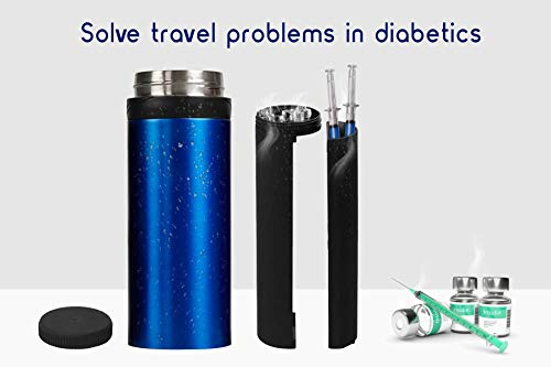 72H Insulin Cooler Travel CASE with Charger for Beach Plane Car Diabetic Organizer Syringe Flexpen Humalog Levemir Vial Portable Holder Hard Mini Fridge Insuline Gel Protector Medical Carrying Bag