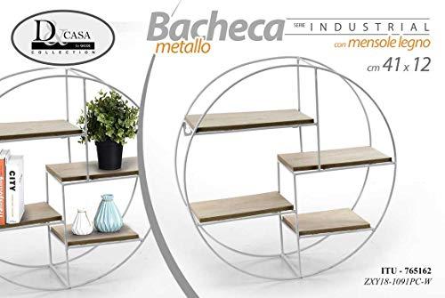 GICOS IMPORT EXPORT SRL Scaffale bacheca libreria Tonda in Metallo con mensole in Legno Serie Industrial 4 Ripiani 41 * 12 cm ITU-765162