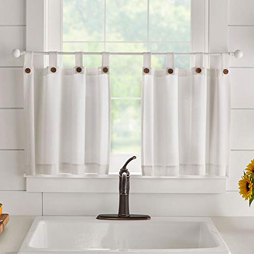 """Elrene Home Fashions Tucker Solid Button Window Kitchen/Café and Bathroom Tier Set of 2, 30"""" W x 36"""" L, White"""