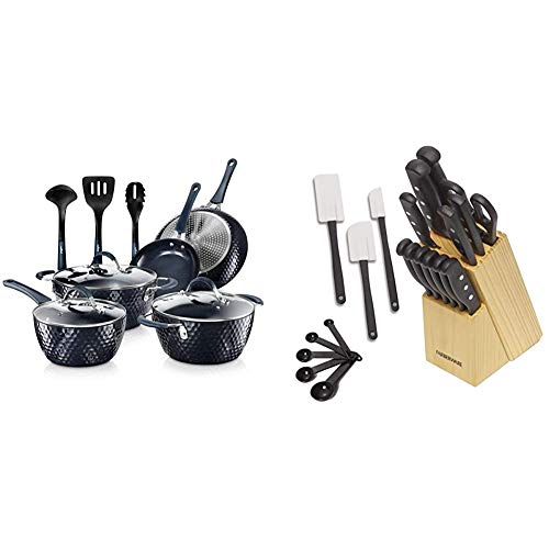 Nutrichef Nonstick Cookware Excilon Home Kitchen Ware Pots & Pan Set with Saucepan Frying Pans & Farberware 22-Piece Never Needs Sharpening Triple Rivet High-Carbon Stainless Steel Cutlery Set