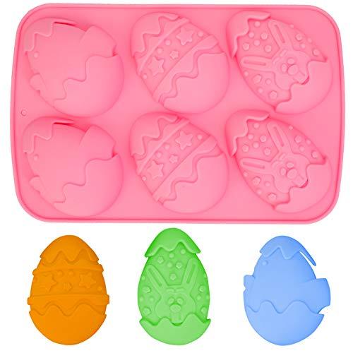 Qpout Oeufs de Pâques Silicone Moule à Chocolat, Fête de Pâques DIY Outils De Cuisson, pour Enfants Filles Garçons Femmes Cuisson des Cadeaux De Fondant De Bonbons (Rose)