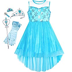 Blue Snowflake Set With Sequin & Mesh Princess Tulle Dress