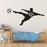 Pegatina de pared con nombre de niño de fútbol fútbol fú